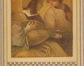 The Lute Serenade | 1900's French Art Postcard | Rural Peasant Musicians | Courtship | Art Nouveau | Jugendstil | Romantic | Warm Ambers |