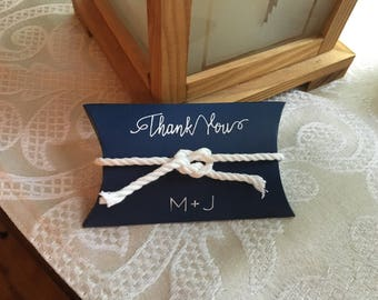 NAVY Blue FAVOR BOX  personalized with Bride & Groom initials with opt. white rope ribbon