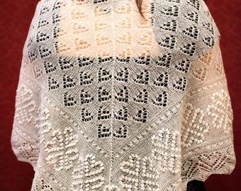 Triangular lace shawl, hand-knitted, 100% wool