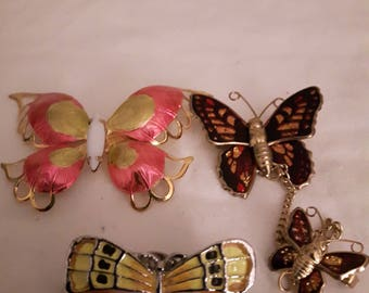 Vintage Butterfly Brooches/Pins - Colorful/Bronze - Boho - 1970's