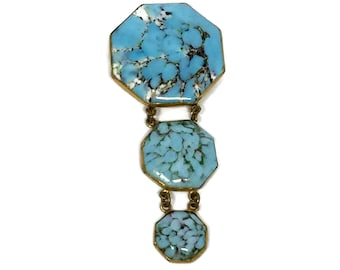 Antique Brooch Hubbell Glass Sterling Silver Articulated Fob Style Pin Art Nouveau Art Deco Era