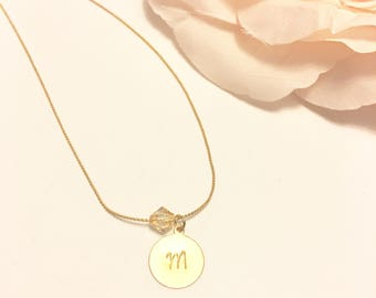 Initial Crystal Necklace, bridesmaids necklace, Crystal Pendant Necklace, Gold Necklace, Crystal Necklace, Crystal Clear Pendant