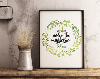 SALE -30%OFF Christmas Watercolor Clipart Mistletoe - Cards, xmas, Wreath and Frame, Clip Art, Leaves Floral, Hand Painted, PNG, diy