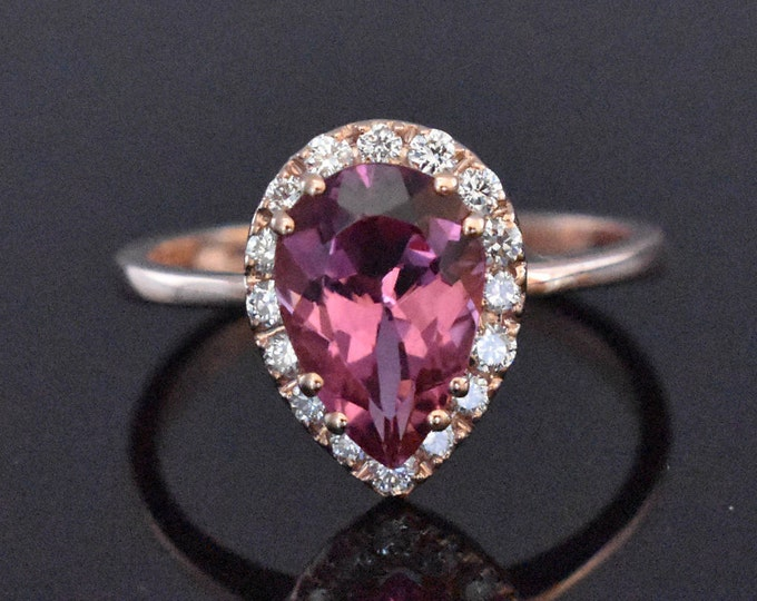 14K Rose Gold Pink Tourmaline & Diamond Ring   Engagement Ring   Wedding Ring   Anniversary Ring   Fine Jewelry   Statement Ring   Handmade