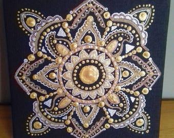 Wall art, original art, ink &  acrylic, canvas art, gold , silver, mandala, ready to hang, boho, eastern art, gift, original painting.