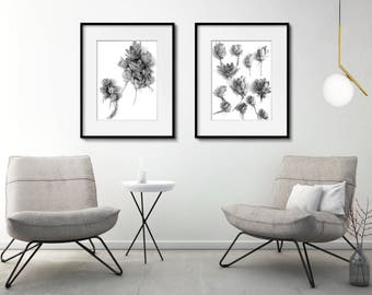 Black and White set of Printables, Succulent Plant Printables, Succulent Poster, Bedroom Flower Prints, Bedroom Printable Wall Decor