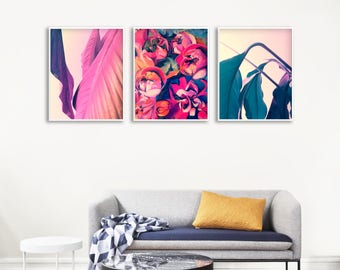 Flower Painting Gallery Wall, Large Living Room Printable Art, Large Leaf Printable Wall Decor, Pink and Blue Wall Decor, Large Leaf Poster