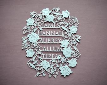 Family Names Personalised Papercut, Rose Cut out art, Paper cut Gift, Papercutting, Handcut