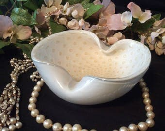 "Milk White, Handblown, Cased Glass Dish, Raised, with Raised Tan ""Buttons"" Inside"