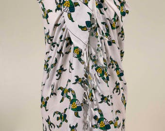 Turtle Pareo, Cute Sarong, Cute Pareo, Turtle Sarong, Summer Cover Up, Summer Gift, for her, for Mom, Women Accessory, Soft, Large Sarong