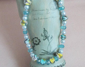 Czech Glass Swirl Bead Necklace with Crystals and Glass Pearls - Sterling Clasp 15-1/2""
