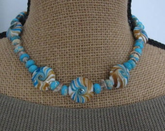 "Art Glass Swirled Beads with Gemstone Blue Jasper and Champagen Quartz 17"" Necklace"