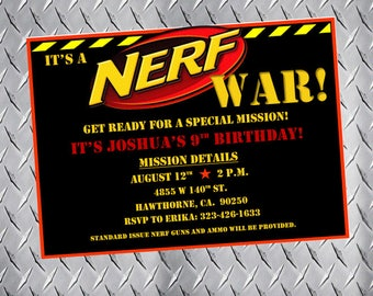 Nerf Party Invitations, Nerf Birthday Invitations, Nerf Bday Invites, Nerf Party Invites, Nerf gun party, nerf war, dart gun party, pdf