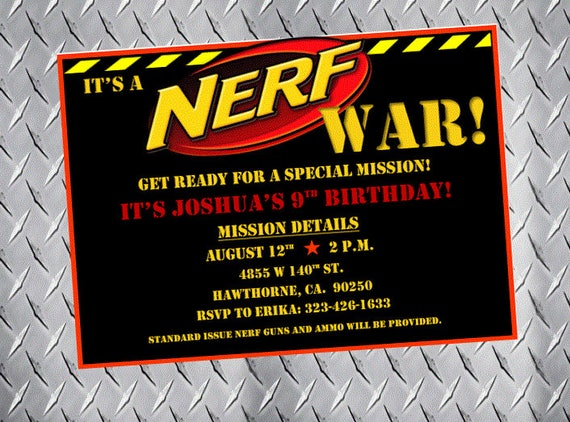 Nerf Birthday Invitations Amazing Invitation Template Design By