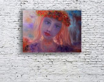 mermaid art purple painting folk girl modern painting purple home decor flower wreath dark painting OOAK art wall art gifts men spirit й8