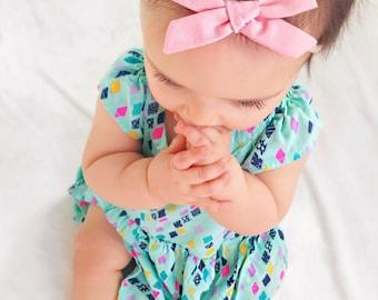 Dusty Blush Pink | Baby headband set, Baby bow Headbands, Small Bows, hair bows for babies, Newborn Nylon Headbands, Baby hair bows