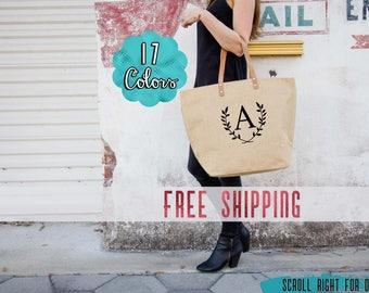 FREE SHIPPING Set of Monogrammed Bridesmaid Bags | Tote Bags for Bridesmaids | Bridesmaids Gifts on a Budget | Bridesmaids Totes