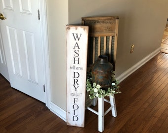 """Laundry sign, wash dry fold sign, rustic laundry room sign, farmhouse laundry room sign 40"""" x 7.25"""""""