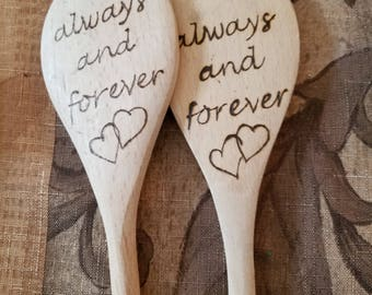 """Wooden """"Always and Forever"""" Valentine / Anniversary Spoon"""