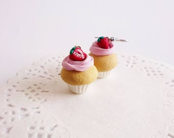 Strawberry cupcake earrings with cute sweet earrings earrings polymer clay earrings gift for her gift for cake designer for baby