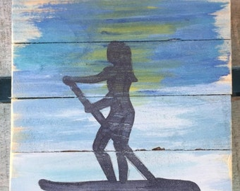 Paddleboard Pallet Art, Marine wood art, Coastal Decor, Coastal patio art, Summer art