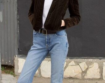 Vintage Velvet Crop Quilted Minimal Victorian Style Jacket Dark Olive sz SMALL