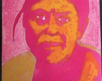 Pink Portrait of Navajo woman by Aaron Freeland