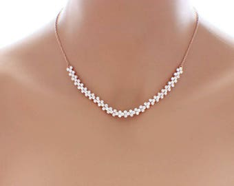 Crystal bridesmaid necklace, rose gold, wedding jewelry, simple rose gold necklace, crystal jewelry, crystal necklace, bridesmaid gift
