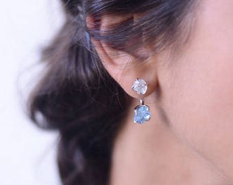2 Way Gemstone Earrings - Aquamarine, White Topaz, Silver. Handmade. Bridal Jewelry.