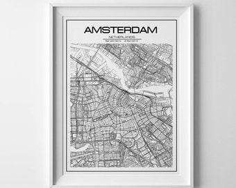 Amsterdam map print Amsterdam map Amsterdam print  Amsterdam poster Netherlands map Amsterdam city map Amsterdam printable Amsterdam art