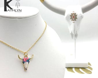 Floral and Gold Bull necklace