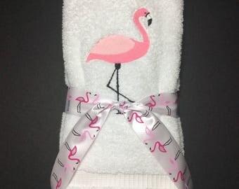 Flamingo White Hand Towel Set (2)