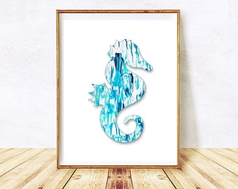 Seahorse Printable, Seahorse Blue Print, Seahorse Print Art, Seahorse, Watercolor Print, Seahorse Wall Decor, Seahorse Art, Instant Download