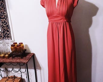 Vintage 70's Burnt Orange Full Length Dress with Empire Waist