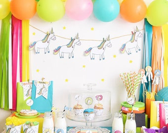 Party Kit printable unicorns of colors - birthday, baby shower, first-years-old children's parties