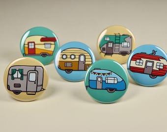 Camper Button Pins Set of 6, Camper Fridge Magnets, Camping Magnets, Camping Pins, Vintage Camper Pins, Vintage, Camper Magnets,