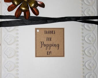 Thanks For Popping By Favor Tags // Bridal Shower Favors // Popcorn Favor Tag // Wedding Shower Favor