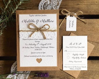 Rustic Wedding Invitation Invite Bundle