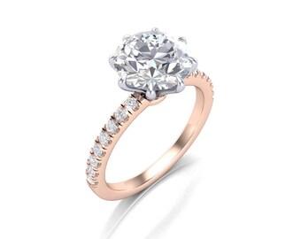 Round Cut Moissanite Diamond Engagement Ring - Forever One Moissanite Rose Gold Diamond Ring - Charles & Colvard 8.5mm Round Moissanite Ring