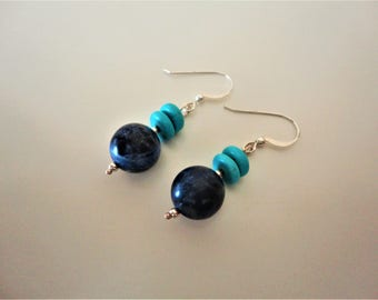 Sodalite & Turquoise Earrings. 925 Sterling Silver Earrings. Gemstone Earrings. Silver Dangle Earrings. Silver Drop Earrings. Greek Earrings