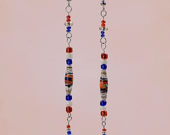 Patriotic American Flag Dangle Earrings #464