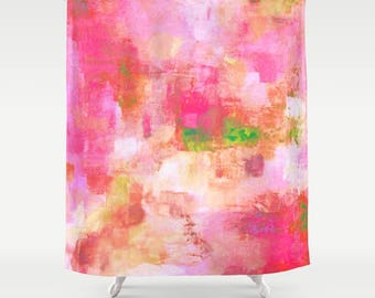 Pink Shower Curtain, art shower curtain - enjoy FREE Shipping
