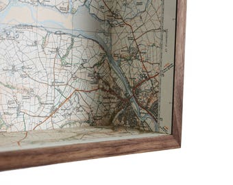 Padstow & Wadebridge map box frame - wall decor wall art gift shelf keys holder