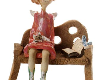 Unusual and Quirky Gift | Angel Girl Sitting on the Bench | Cat | Perfect Gift for Mothers Day
