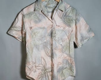 70s 80s Handmade Pastel Abstract Pattern Button Down Short Sleeve Shirt Sz Large XL Plus Size Blouse Leaves Cotton Collar Pockets Tee OOAK