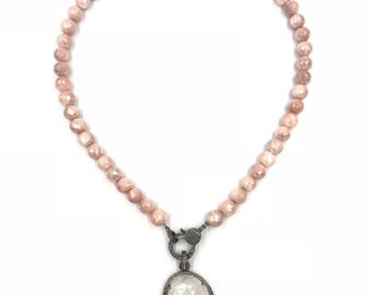 Short pink moonstone necklace with moonstone and diamond pendant, Moonstone necklace,  Moonstone jewelry, Pave diamond jewelry