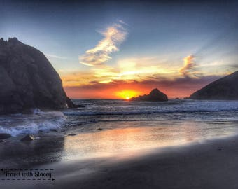 Pfeiffer Beach Sunset, Big Sur, CA | Travel, Travel Photography, Home Decor, Travel Lovers, Wall Art, Travel Decorations, Travel Prints