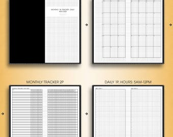 MONTHLY-DAILY planner 2018, #M-D1,H (standard inserts, standard travelers notebook insert, standard tn inserts, standard printable)