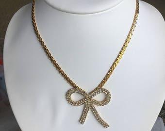 Rhinestone Gold-tone Bow Necklace