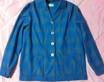 Vintage Pendleton 100% Virgin Wool Button Up Jacket, Vintage Pendleton Blue Wool Jacket Coat